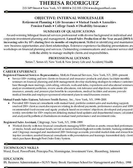 Financial services cv profile writing of CV formats for banking
