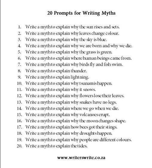 greek myth stories writing prompts
