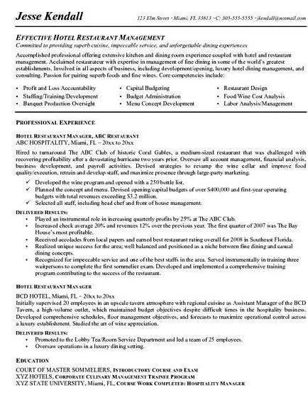 Hospitality resume writing service