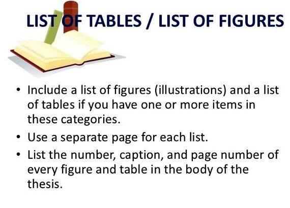 List of tables in thesis definition in writing essay must generally be thesis