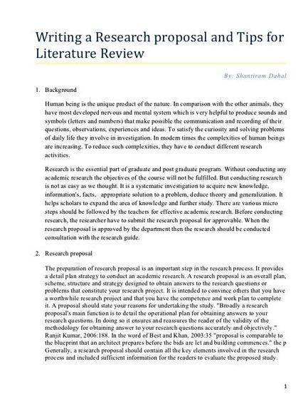 dissertation proposal literature review