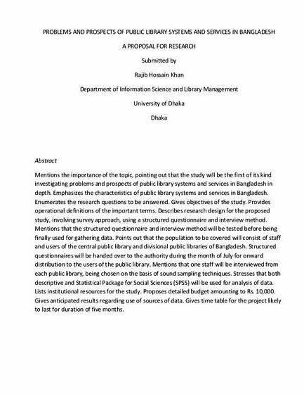 A synopsis for m phil dissertation