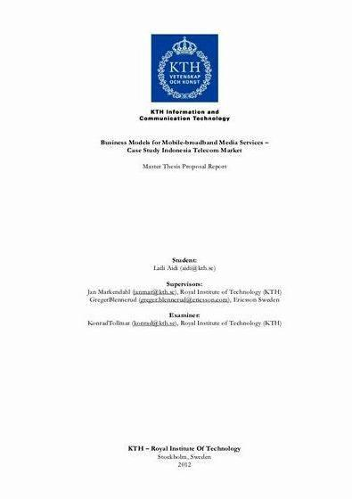 Master thesis proposal kth royal institute Loading and