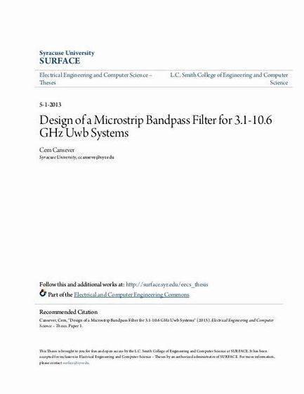 Microstrip bandpass filter thesis proposal resonators optimization or