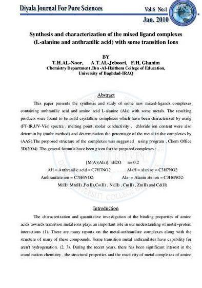 Mixed ligand complexes thesis proposal The sequence of examining