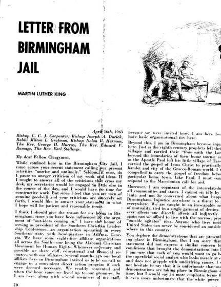 Mlk letter birmingham jail thesis writing black Americans