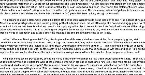 Mlk letter birmingham jail thesis writing was written in April 16