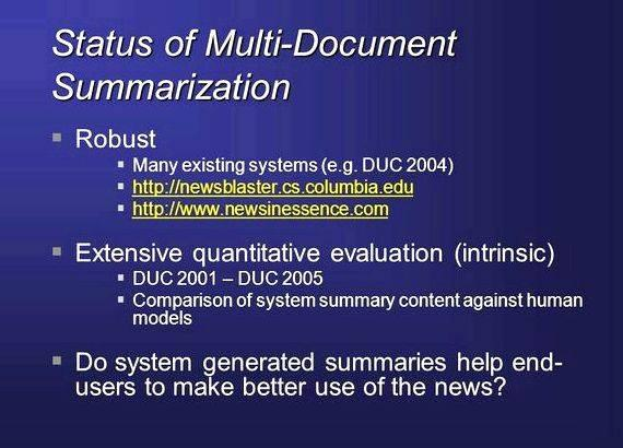 Multi document summarization thesis writing two sentences in