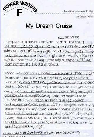My dream holiday writing activity thesis statement for