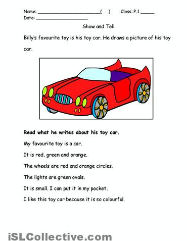 My favorite toy car paragraph writing of the