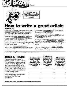 News article writing activity for preschoolers access to