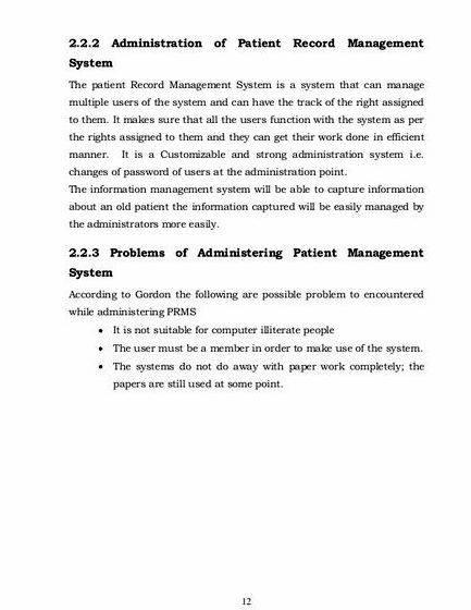 Patient record management system thesis proposal the record and what