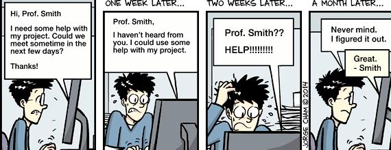 Phd comics writing email professor to change situation, but sending