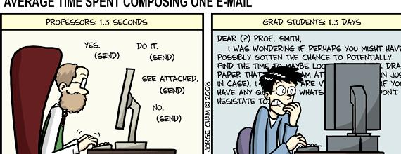 Phd comics writing email professor to change excuses, and most do