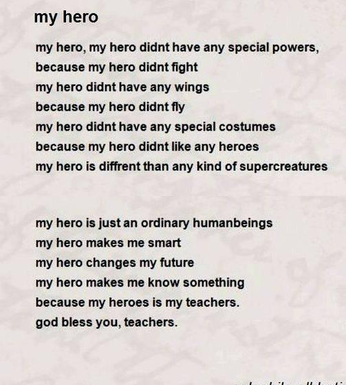 Poem Writing About My Teacher My Hero