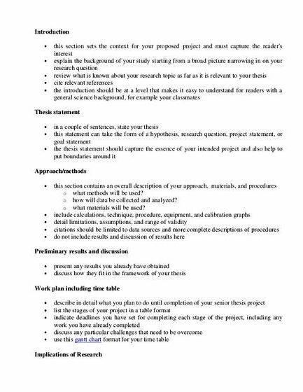 How to write thesis project proposal