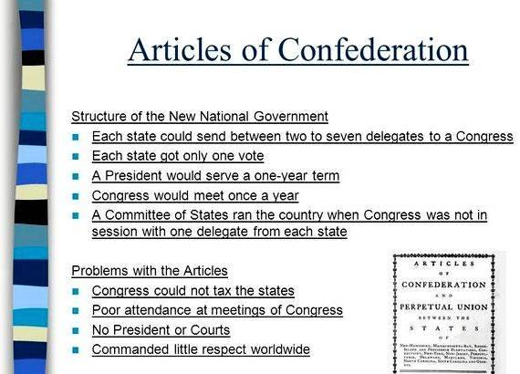 Reasons for writing the articles of confederation worksheet by the laws