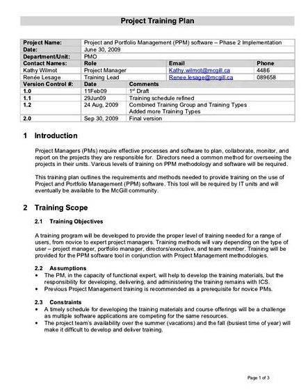 Sample on thesis proposal+project management training Change Management
