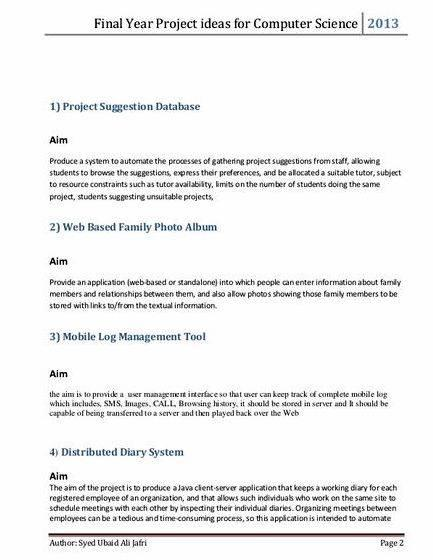 Sample final year project proposal computer science