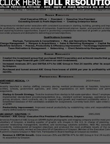 Senior executive resume writing service 899 through the