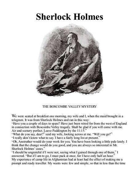 Sherlock holmes boscombe valley mystery summary writing cigar holder, wears
