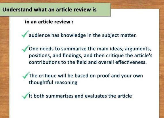 Article review help