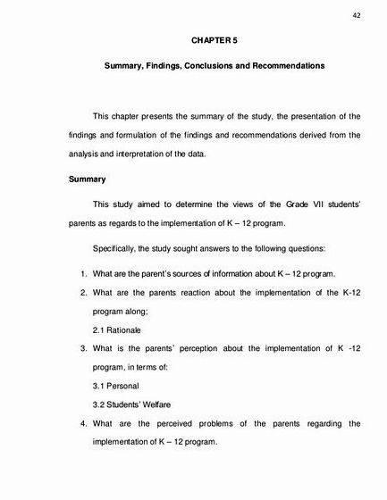 sample thesis chapter 5 summary conclusion and recommendation