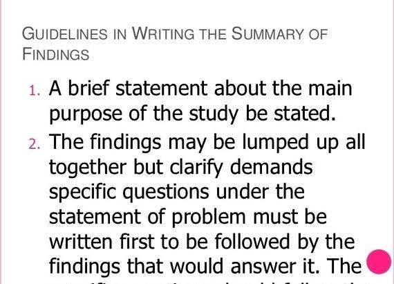 Summary of findings dissertation help Sources and methods