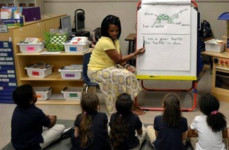 Teacher modeling writing instruction articles where students apply the skills