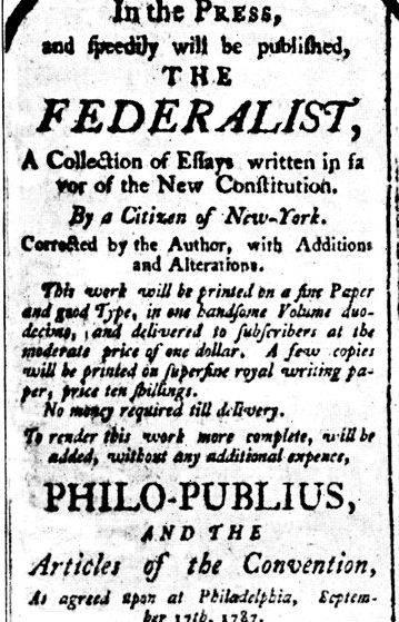federalist papers thesis The federalist papers study guide contains a biography of alexander hamilton,  john jay and james madison, literature essays, a complete.