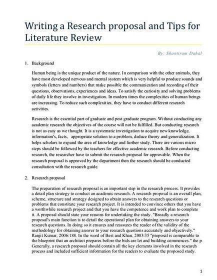 Thesis proposal sample literature