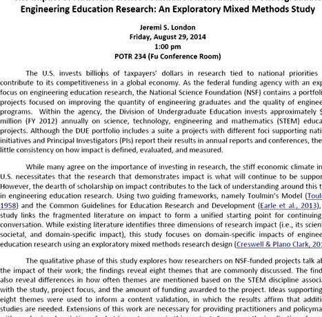 Civil engineering dissertation proposal
