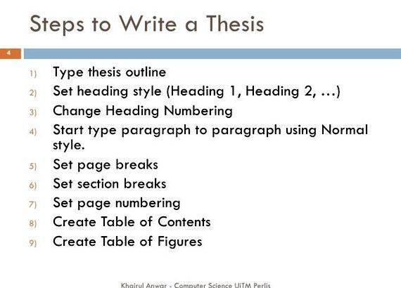 Thesis writing in word 2007 on the outline pages