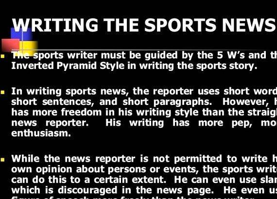 Tips in writing sports article It can