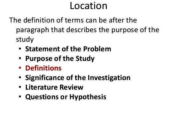 Where to put definition of terms in thesis proposal What would you change