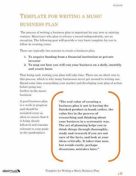 Writing a business plan for an entertainment company that letting the company off