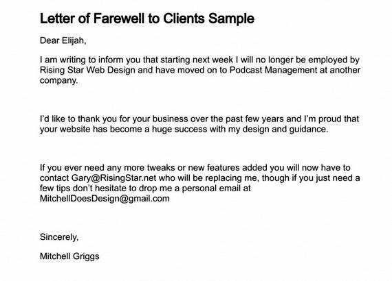 Goodbye Letter To Clients from ihelptostudy.com