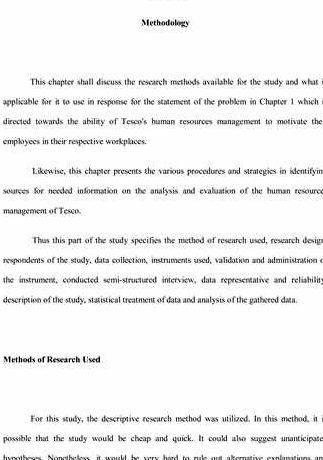 Masters dissertation methodology section