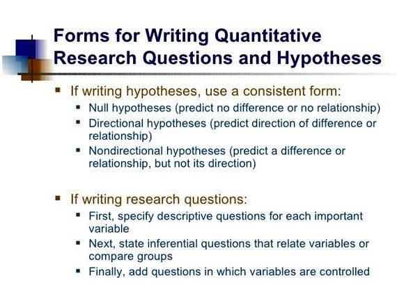 Writing a research question and hypothesis differences research design generally