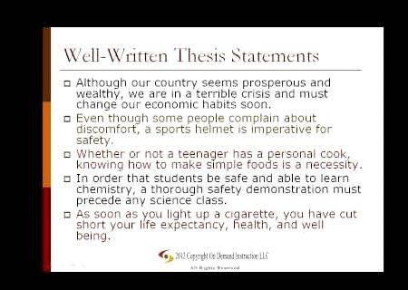 Steps to writing a thesis sentence
