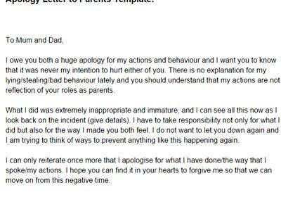 Writing An Apology Letter To Your Parents