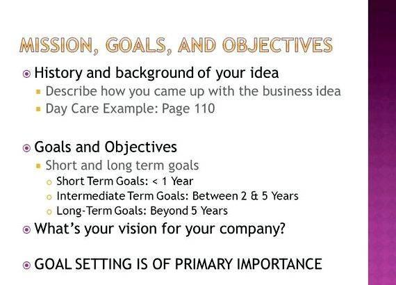 Writing goals and objectives for business plan It could take the