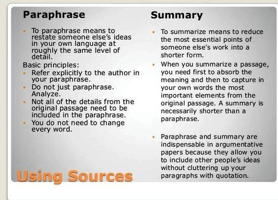 Writing paraphrases and summaries of articles longer summary, remind your