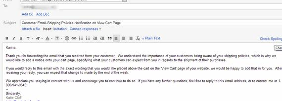 Writing service emails to customers come across the same relative