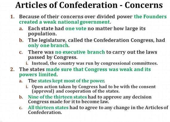 Writing solutions to the articles of confederation text When the articles