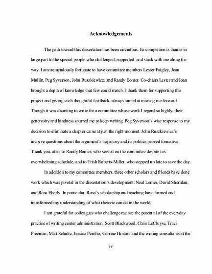 Writing the bachelor thesis acknowledgements major role