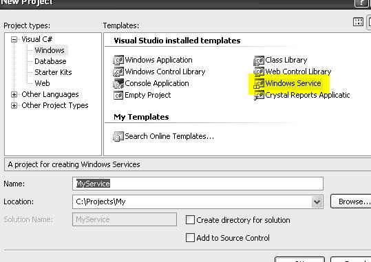 Writing windows service in c# Service Control Manager